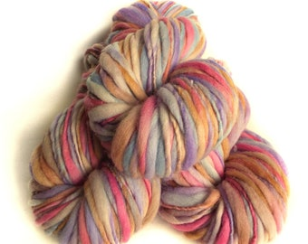 Chunky yarn merino wool yarn hand dyed yarn handspun yarn chunky merino wool bulky yarn weaving yarn thick and thin yarn art yarn weaving