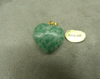 PENDANT heart pattern PM-green jade