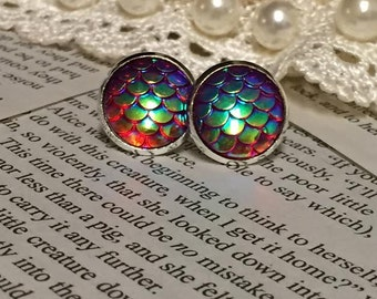 Red Dragon Scale Earrings - Mermaid Scale Earrings