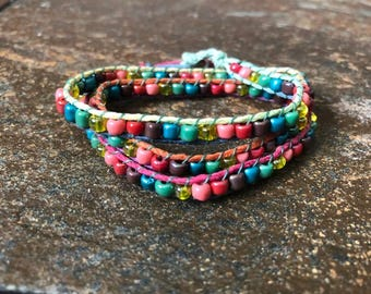 Rainbow Hemp and Bead Triple Wrap Bracelet, Beaded Wrap Bracelet, Hemp Wrap Bracelet, Triple Wrap Bracelet, Beaded Bracelet, Hemp Bracelet