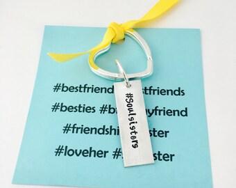 Best Friends Keychain, Soul Sisters Keychain, Soulsister Keychain, Best friend Keychain, Soulsister, Best friend Jewelry, Hashtag Jewelry