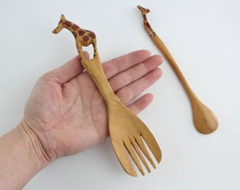 Vintage Hand Carved Wooden Giraffe Spoon Set