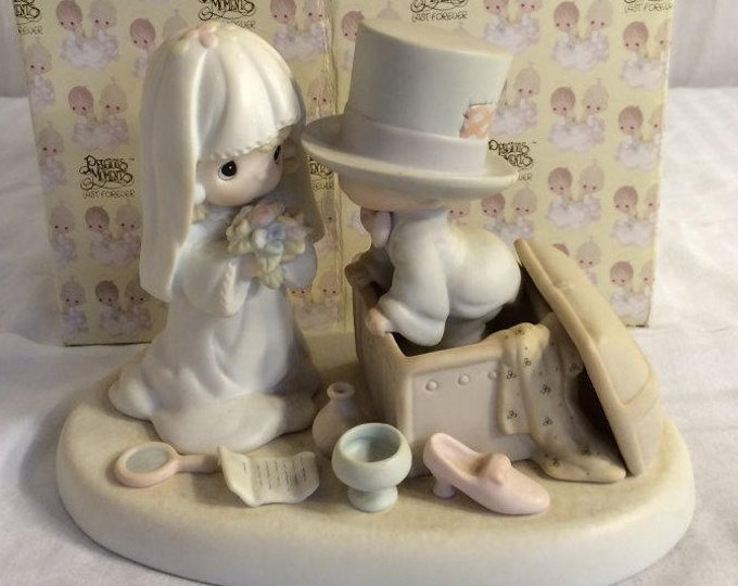 "Wedding Gift, Precious Moments Figurine ""Heaven Bless your togetherness"" in the original box, Excellent Condition, w/ Reduced Shipping"