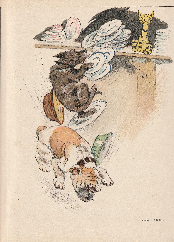 Blobbs English Bulldog Scottish Terrier Cat Crockery Plates