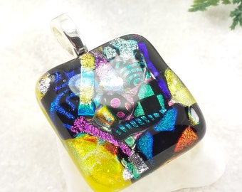 Dichroic glass necklace, fused dichroic glass jewelry, rainbow pendant, fused glass art, artisan jewelry, handmade jewelry, rainbow necklace