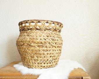 Woven Open Weave Tapered Neck Rattan Basket / Planter / Pot
