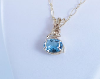 Swiss Blue Topaz, AAA Gemstone Pendant, Gemstone Necklace, 14K Gold Filled Chain, Gift for Her