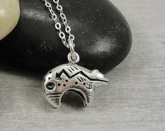 Heartline Bear Necklace, Sterling Silver Zuni Bear Charm on a Silver Cable Chain