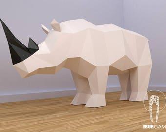 Rhino Papercraft XXL, Make Your Own 3D Rhino, Pdf Papercraft, Rhino, Paper Animal , Red Rhino, Eburgami, Origami, Papercraft templates