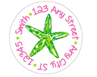 Tropical Starfish Round Address Labels Stickers for use as Gift Tags, Party Favors, Address Labels & Class Parties