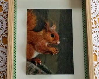 Cyril the red squirrel 3D needle-felted picture