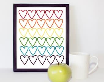 Rainbow Hearts Children's Room/ Nursery 8x10 Printable Wall Art