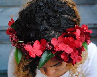 Red floral crown