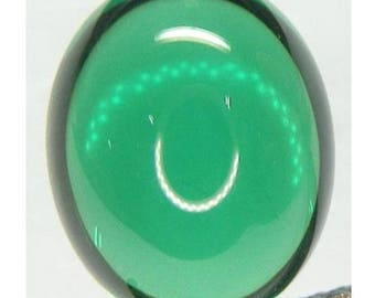 Russian Synthetic Emerald Green Nano Crystal Oval Cabochon AAA Loose Gemstones (5x3mm - 40x30mm)