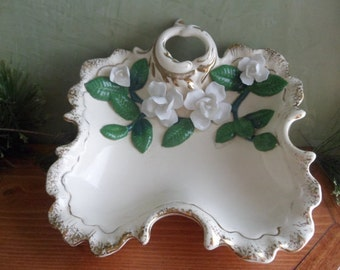 Applied White Rose Vanity Dish, White Rose Candy Dish