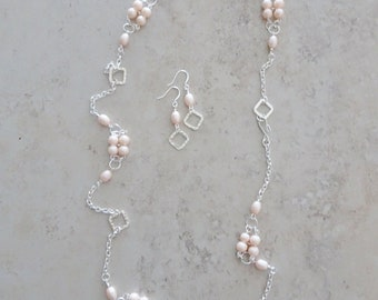 Peach Bead Silver Chain Necklace and Earring Gift Set - Silver Chain Beaded Necklace - Peach Earrings - Peach Bead Necklace - Long Necklace