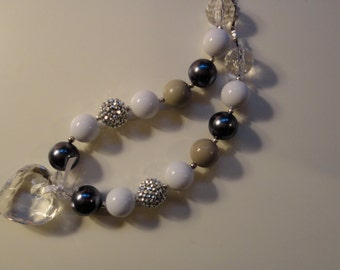 Little girl silver white sparkle photo shoot diamond pendant chunky bubble gum kid friendly birthday cute baubles necklace