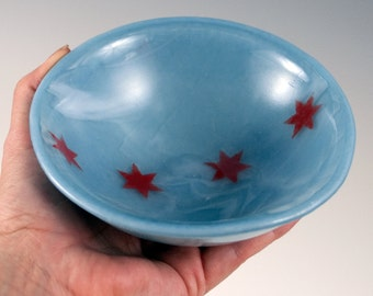 Chicago Flag Small Fused Glass Bowl, Chicago Flag, Small Bowl, Blue and Red