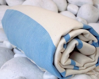 High Quality Hand - Woven Turkish Cotton Bath,Beach,Pool,Spa,Yoga,Traveller Towel or Sarong-Natural Cream and Blue
