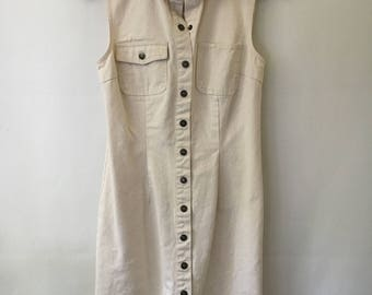 90s Ivory Denim Button-up Dress / Minimalist Dress