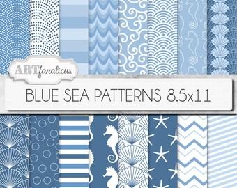 "8.5x11 beach digital papers ""BLUE SEA PATTERNS"" shells, seahorse, waves, seashell, ocean, starfish, chevron, sea, beach, nautical, seashore"