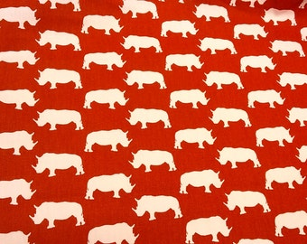 Curtain panel red white rhino Animal Zoo Kids room decor Modern House Decor Cafe curtain Kitchen valance , table linen , great GIFT