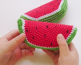 Watermelon rattle (1 piece), teether teeth , play food , kitchen decoration, Crochet Food, ECO-friendly toys , red .