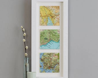 Three custom Map Location squares Print - wedding gift - anniversary gift for husband - personalised map gift - world map - gift for him