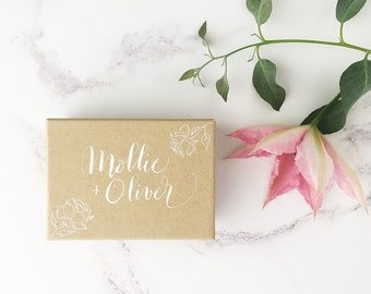 Luxury wedding favour boxes, barn wedding favours, handwritten calligraphy boxes, rustic wedding favours