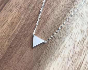 Silver Triangle Necklace, Silver Layering Necklace, Delicate Silver Necklace, Delicate Silver Triangle Necklace, Silver Triangle