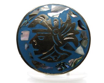 Vintage Mexican Pendant Brooch Of Aztec Warrior With Abalone And Blue Enamel