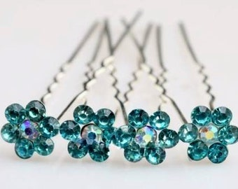 Set Of 2 Lake Blue Rhinestone Hairpins - Bridal Accessories