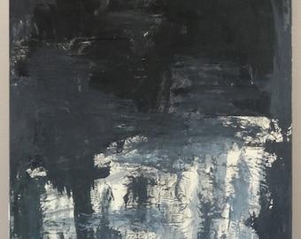 Black abstract mixed media painting
