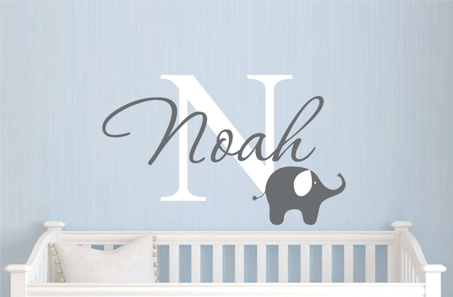 Childrens Name Elephant Wall Decal Boys Name Vinyl Wall