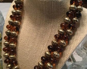Vintage Signed Ellelle Italy Designer Brown Glass Bead Gold Tone Metal Rondelle Bead Double Strand Multi Strand Necklace 1970's 1960's