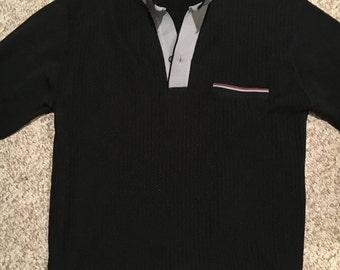 Vintage Da Vinci of California Mad Men Black Sweater shirt Size Medium/1960s 1970's Vintage Mens sweater