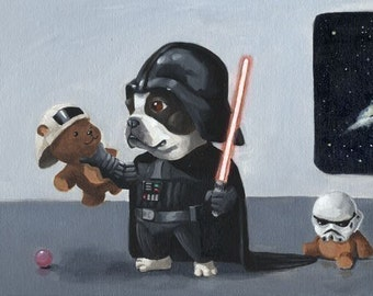 Darth Terrier - Boston Terrier dog art print