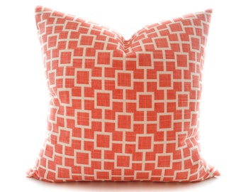 Coral pillow cover - Linen off white and coral toss pillow - Salmon cushion - Light faded orange pillow - Shabby Chic pillow cover -