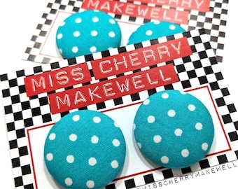 Turquoise and White Ditsy Polka Dot Fabric Button Rockabilly 1950's Pin Up Vintage Inspired Stud or Clip On Earrings By Miss Cherry Makewell