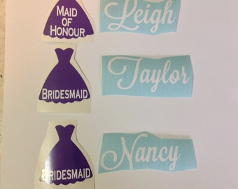 DIY Personalized Bridesmaid  Vinyl Decals Stickers Make Your Own Wedding Tumblers