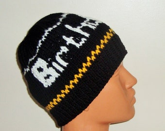 Birthday Boy Personalized gift for boyfriend, for mens gift ideas, anniversary gifts, husband gift, hand knit wool hat mens
