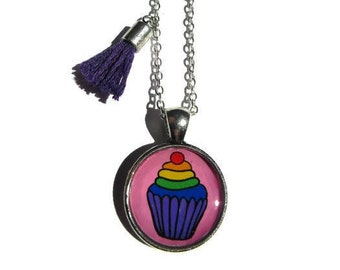 CUPCAKE NECKLACE - cupcake jewelry - pink cupcake pendant - candy resin pendant - sprinkles jewelry - gift for girls - food jewelry