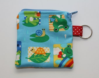 Kawaii Blue Frogs Coin Purse (Blue Zipper)