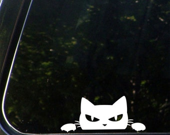 """CAR - Angry Cat Peeking Over . . .  Vinyl Car Decal Sticker - Copyright 2014 © YYDC  (5""""w x 2""""h)(Color Choices)"""