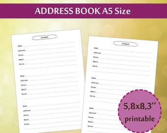 contacts page classic happy planner printable insert