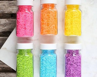 Bright Rainbow Candy Shred Sprinkles Set, Rainbow Sprinkles, Rainbow Sugar Strands, Edible Sprinkles, Wafer Paper Shreds, Cookie Sprinkles
