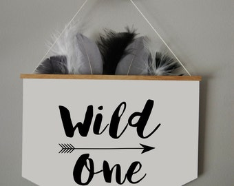 FEATHERED BANNER/ Monochrome Wild one/  Kids Room Decor/ Kids Wall Art / Nursery Wall Art / Pennant /