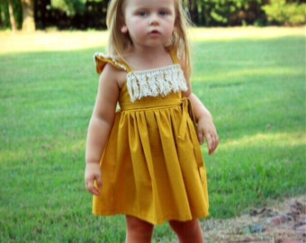 Mustard Fringe Dress - fringe dress - fringe boho dress - fringe toddler dress -baby girl dress - fall photos dress - thanksgiving dress