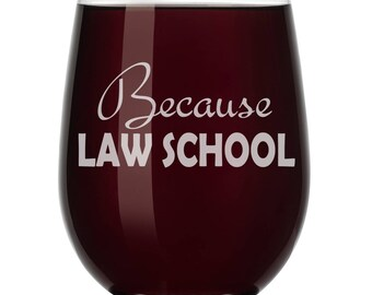 Because Law School Student Lawyer Attorney Paralegal Funny Wine Glass Stemless or Stemmed