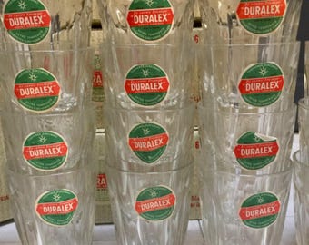 Boxed Set of 6 French Duralex Glasses in a Box, 1950's
